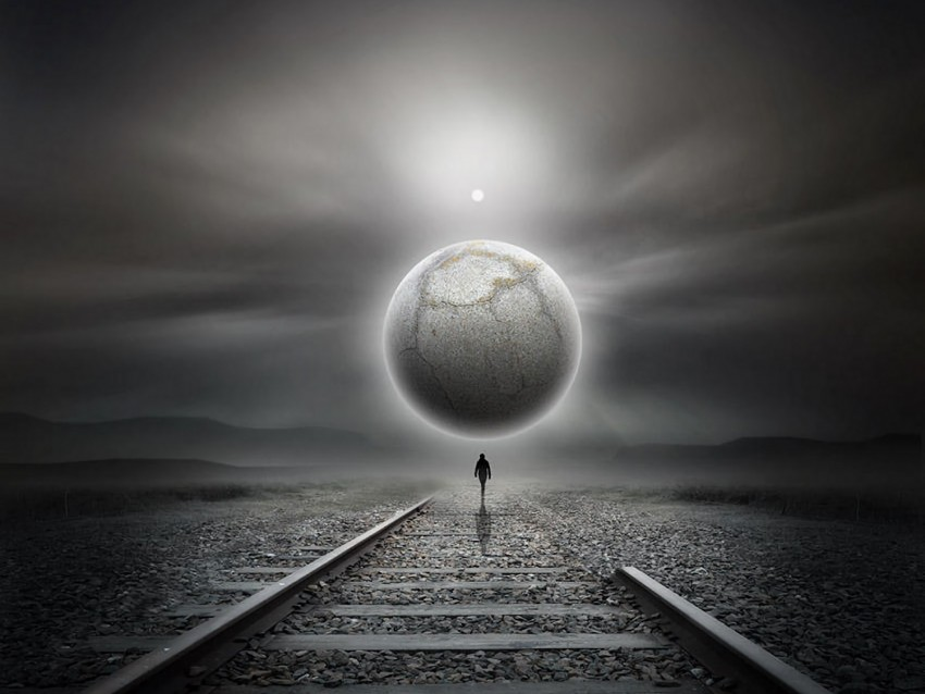 free PNG railway, silhouette, loneliness, art, planet, futurism, surrealism background PNG images transparent