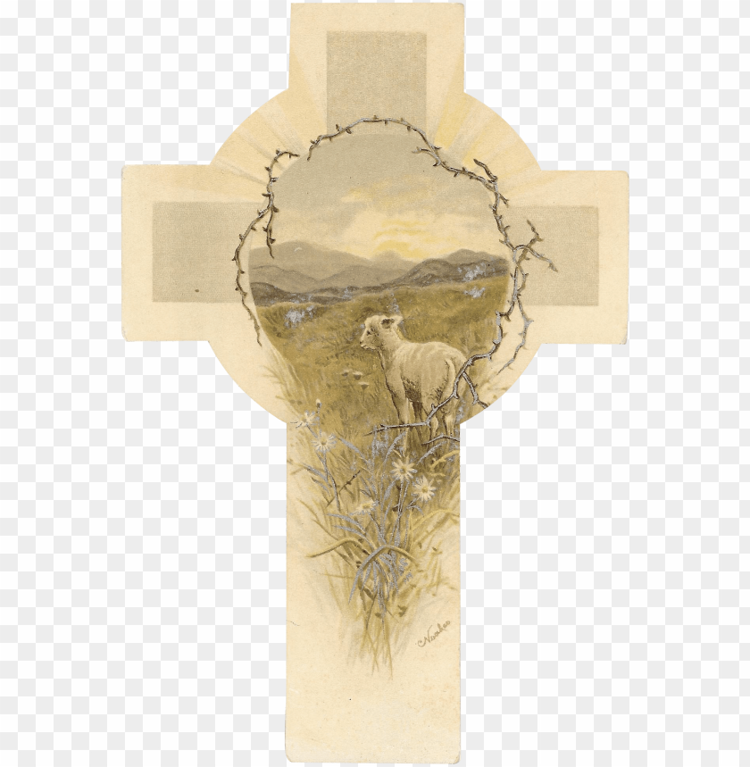 free PNG raphael tuck & sons easter cross shaped card with lamb - elk PNG image with transparent background PNG images transparent