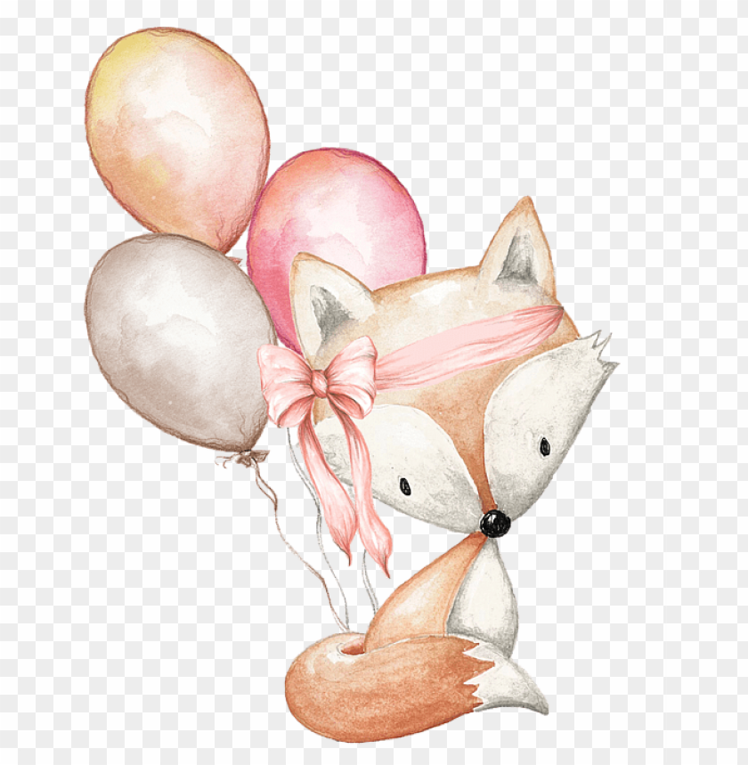 free PNG raphic library stock boho fox with balloons duvet - boho fox PNG image with transparent background PNG images transparent