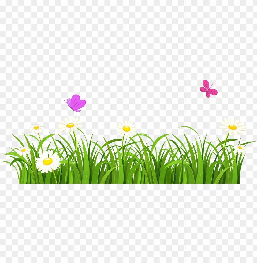 free PNG rass and butterflies png clipart - grass and flowers clipart PNG image with transparent background PNG images transparent