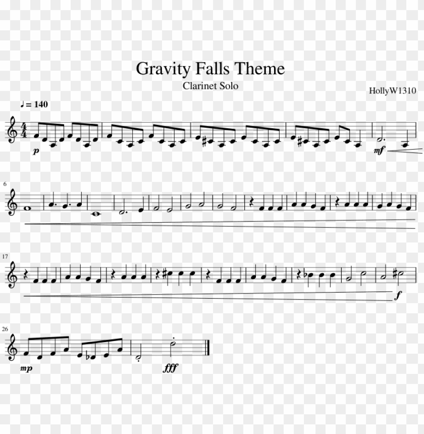 free PNG ravity falls theme sheet music composed by hollyw1310 - clarinet sheet music gravity falls PNG image with transparent background PNG images transparent
