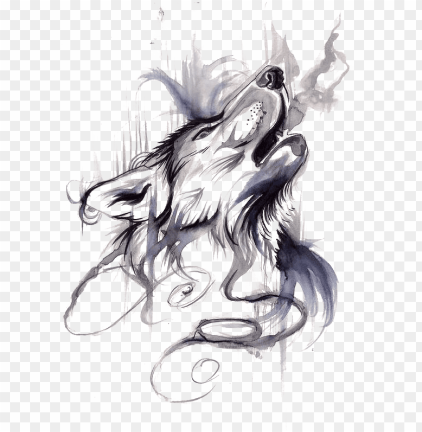 free PNG ray wolf tattoo ink flash drawing - ink wash wolf PNG image with transparent background PNG images transparent