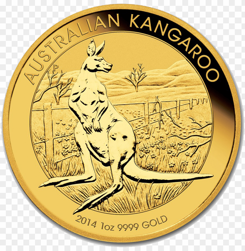 free PNG re-owned 2014 australian kangaroo 1oz gold coin - australian kangaroo gold coin 2015 PNG image with transparent background PNG images transparent