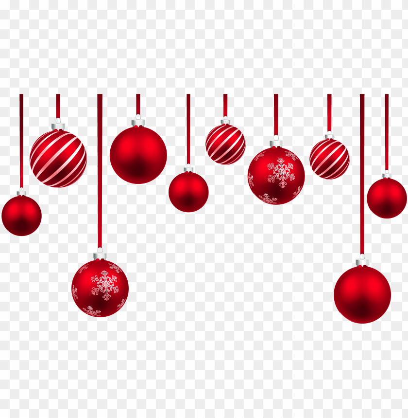 free PNG red christmas hanging balls decor png clipart image - hanging christmas ornament PNG image with transparent background PNG images transparent