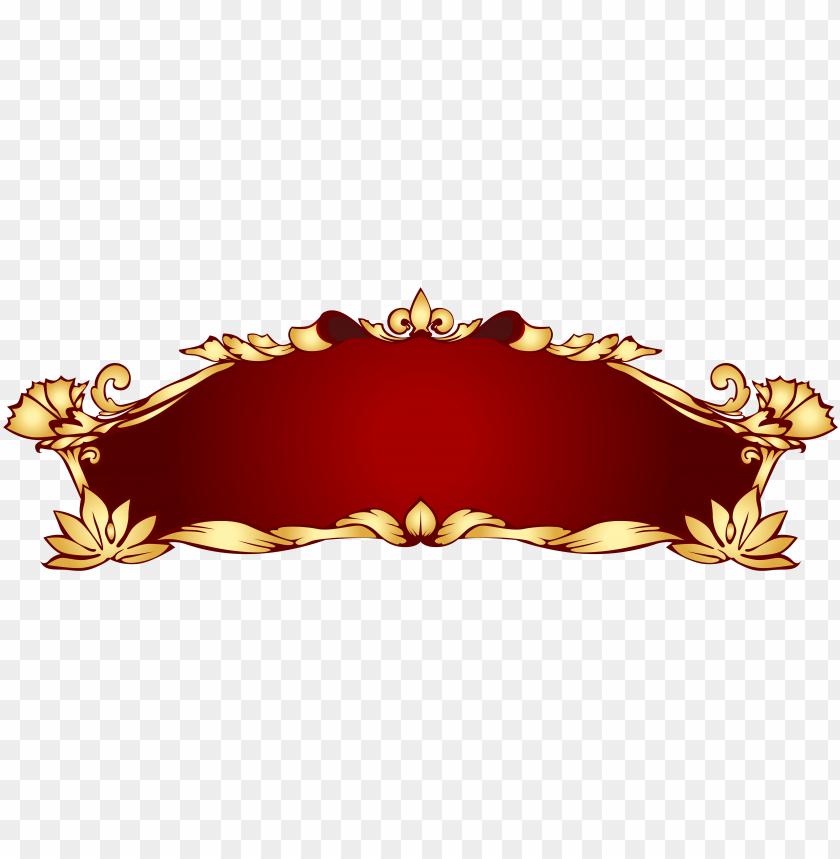 free PNG red gold art nouveau banner png - golden banner PNG image with transparent background PNG images transparent