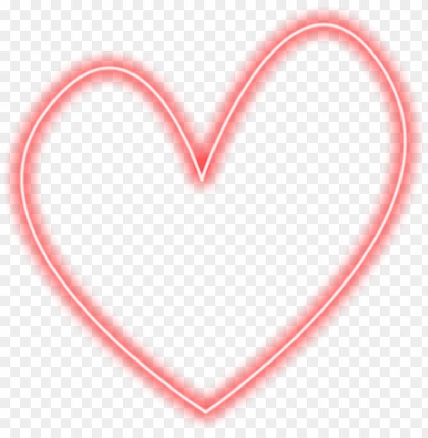 red heart neon corazon rojo vermelho sticker freetoedit - coração png fundo  transparente PNG image with transparent background   TOPpng