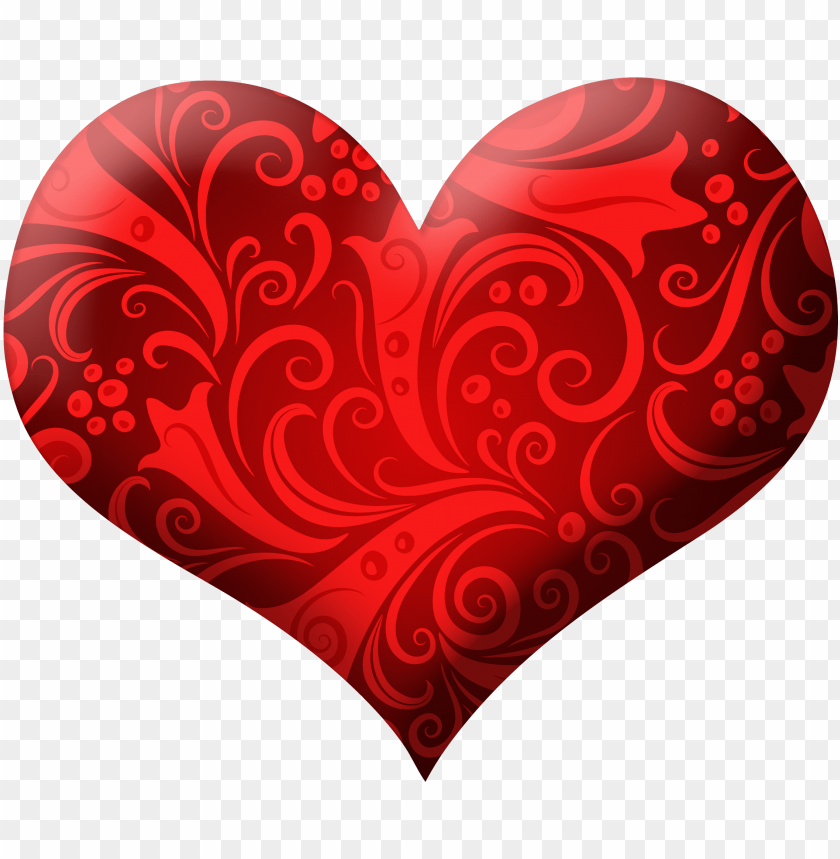free PNG red heart with ornaments png clipart picture - red heart PNG image with transparent background PNG images transparent