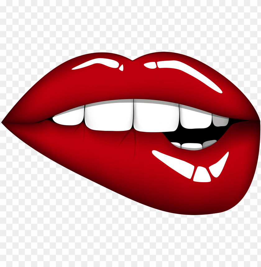 Red Mouth Png Clipart Image Lip Biting Cartoon Lips Png Image With Transparent Background Toppng