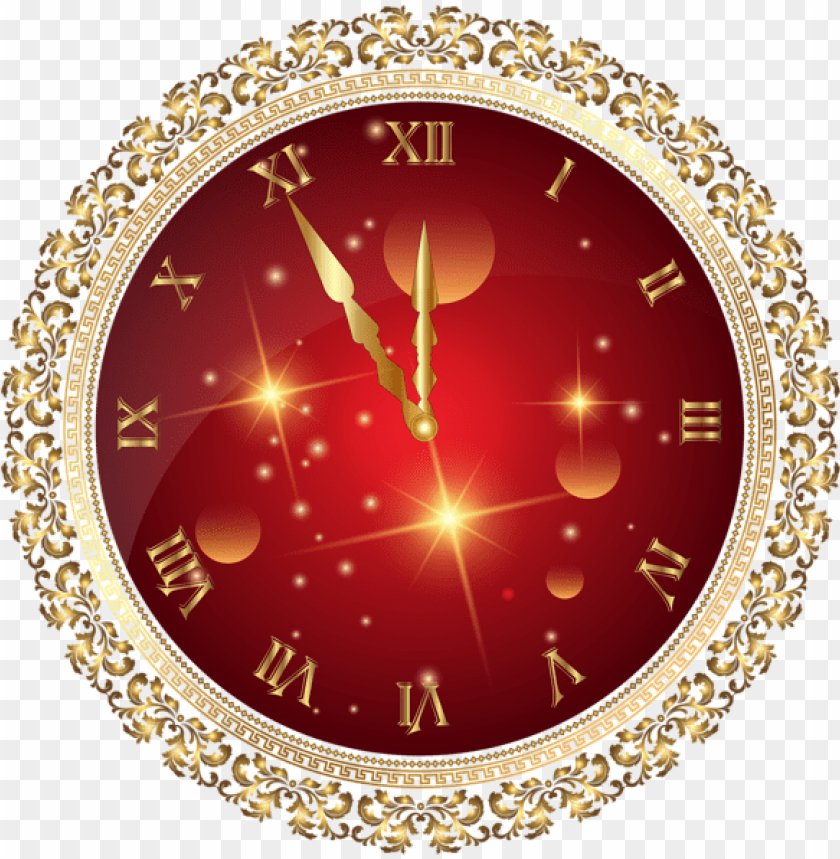 free PNG red new year's clock png transparent clip art image - nye clock PNG image with transparent background PNG images transparent