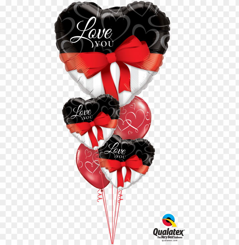 free PNG red ribbon love heart balloon bouquet - valentines day balloon bouquet qualatex PNG image with transparent background PNG images transparent