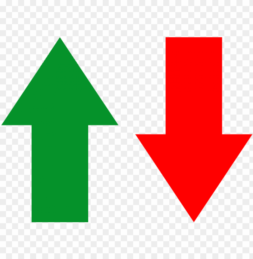 free PNG reen arrow pointing up next to a red arrow pointing - arrows going up and dow PNG image with transparent background PNG images transparent