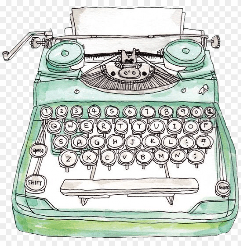 free PNG reen typewriter office watercolor typing freetoedit - typewriter drawi PNG image with transparent background PNG images transparent