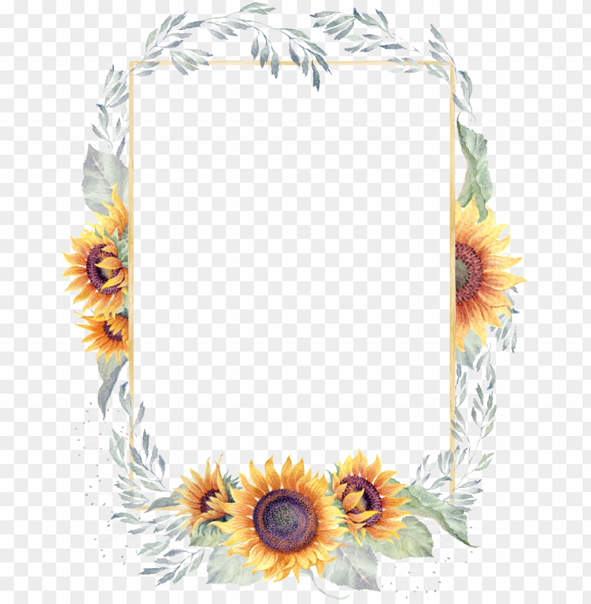 free PNG reen watercolor hand painted sunflower border transparent - transparent sun flower border PNG image with transparent background PNG images transparent