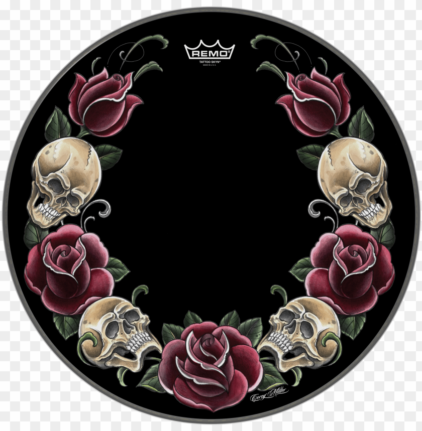free PNG remo powerstroke p3 skyndeep bass drumhead-tattoo rock - roses rock PNG image with transparent background PNG images transparent