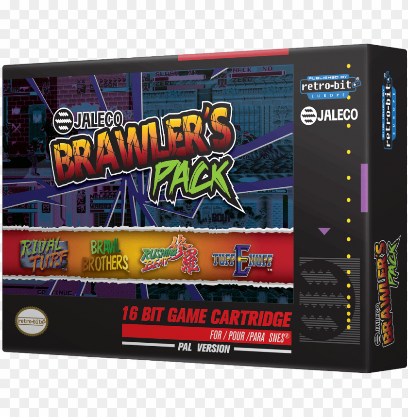 free PNG retro-bit jaleco brawlers pack snes - retro bit snes jaleco brawler's pack video game cartridge PNG image with transparent background PNG images transparent