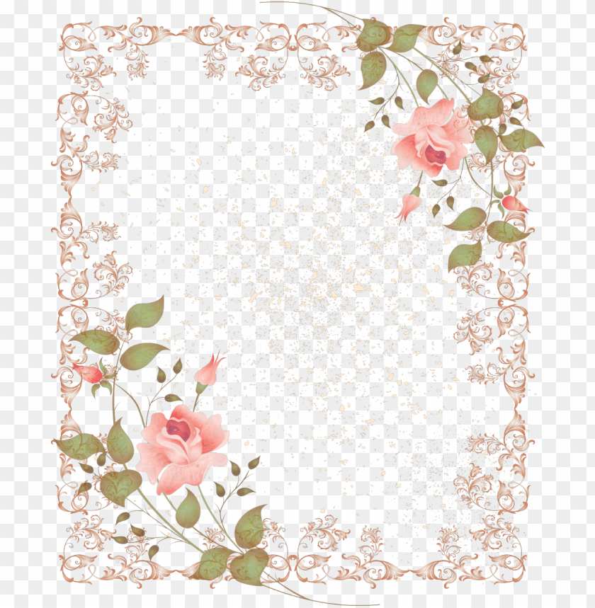 Retro Style Fl Border Picture Frame Png 1045 1280 Vintage Marco