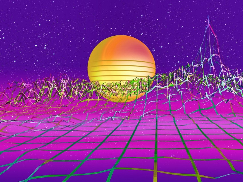 Retrowave Art Retro Synthwave Sun Relief Grid Background Toppng