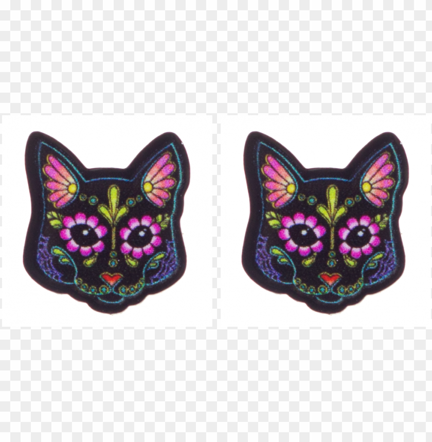 free PNG retty in ink day of the dead cat earrings black - day of the dead cats PNG image with transparent background PNG images transparent
