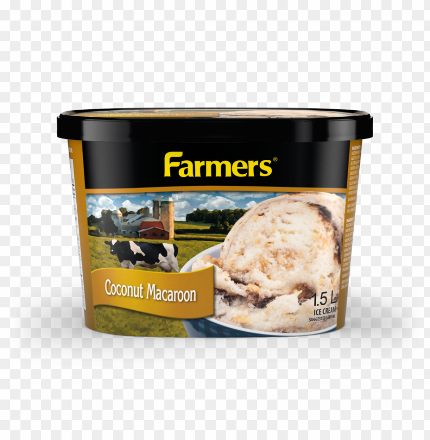 free PNG rich coconut ice cream with toasted coconut pieces - farmers ice cream PNG image with transparent background PNG images transparent