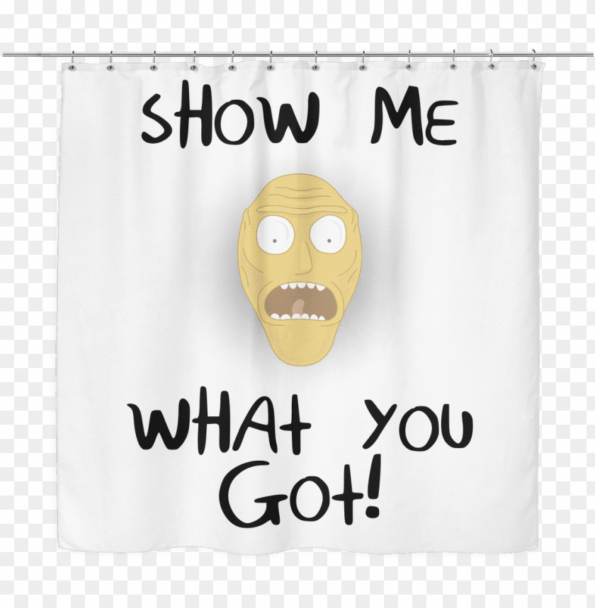 free PNG rick and morty show me what you got shower curtain - face mask PNG image with transparent background PNG images transparent