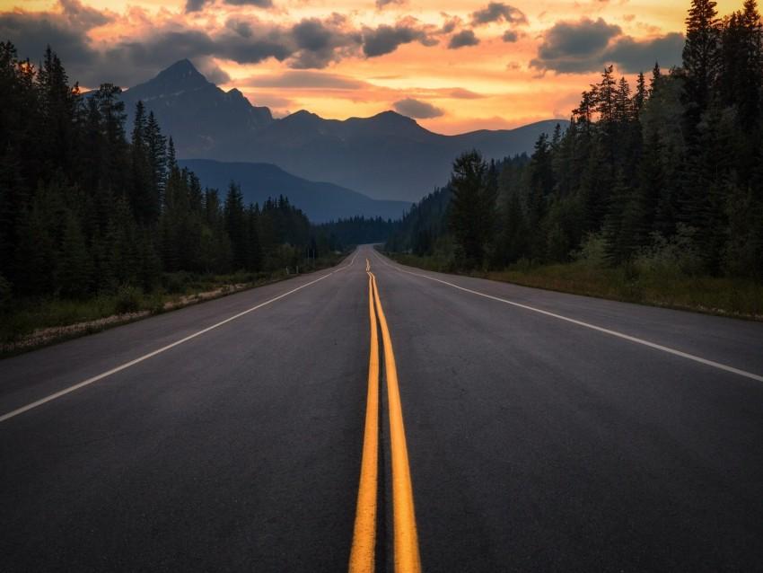 free PNG road, asphalt, marking, mountains, trees, turn, jasper, canada background PNG images transparent