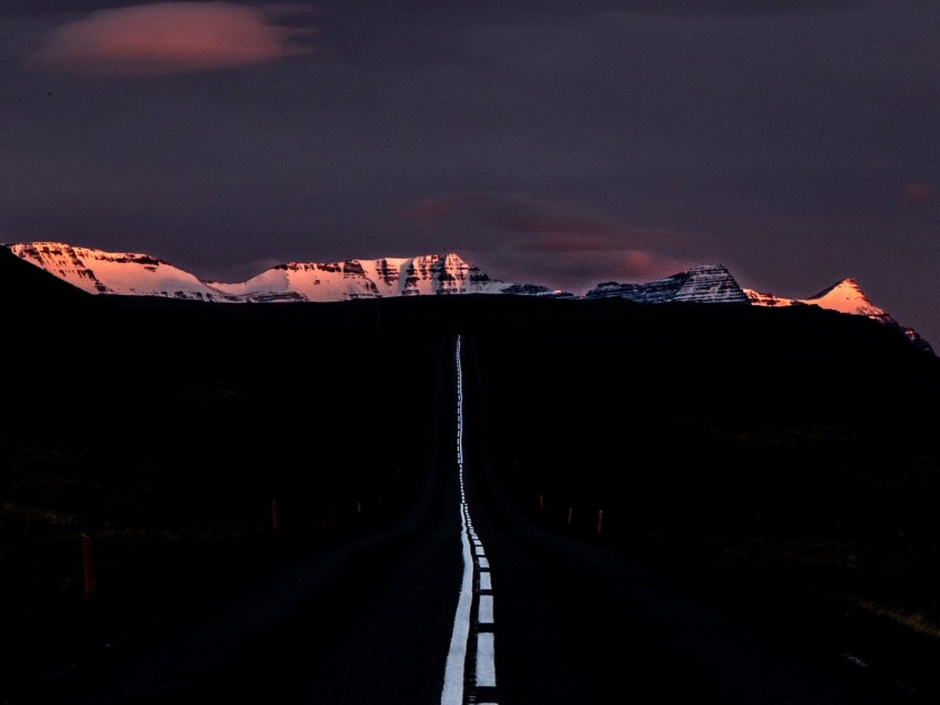 free PNG road, marking, mountains, horizon, dark, night, sunset background PNG images transparent