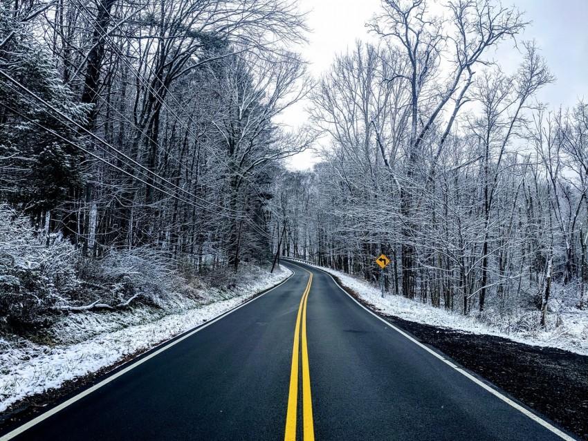 free PNG road, trees, winter, marking, snow, asphalt background PNG images transparent