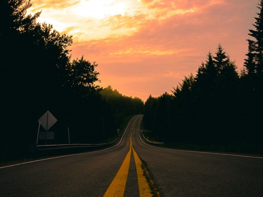 free PNG road, turn, marking, forest, sunset background PNG images transparent