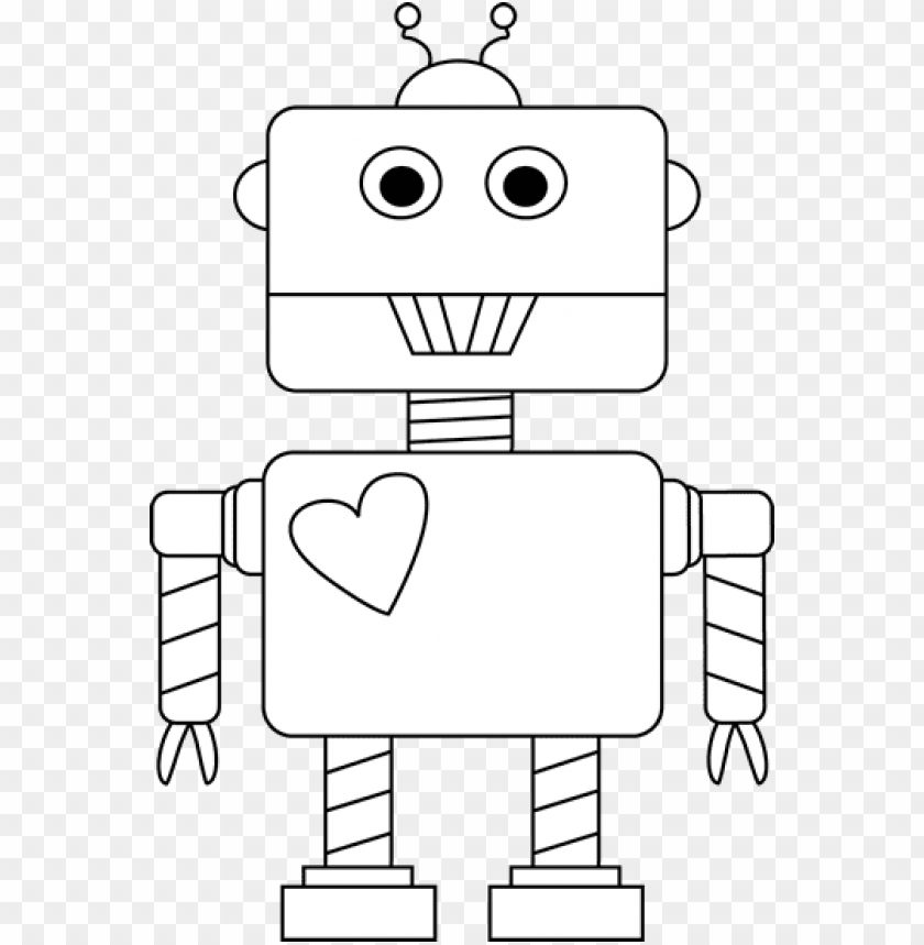 free PNG robot clipart heart - robot black and white PNG image with transparent background PNG images transparent