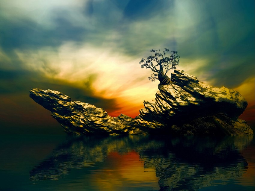 free PNG rock, tree, art, water, reflection background PNG images transparent