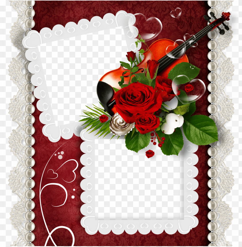 free PNG romantic doubleframe with violin and rose background best stock photos PNG images transparent