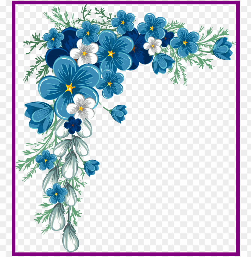 free PNG rose flower design corner rose flower design png unbelievable - blue flower border desi PNG image with transparent background PNG images transparent