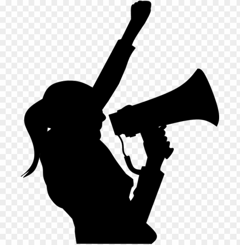 free PNG rotesting, megaphone, hand, woman, yelling, silhouette - woman yelling silhouette PNG image with transparent background PNG images transparent