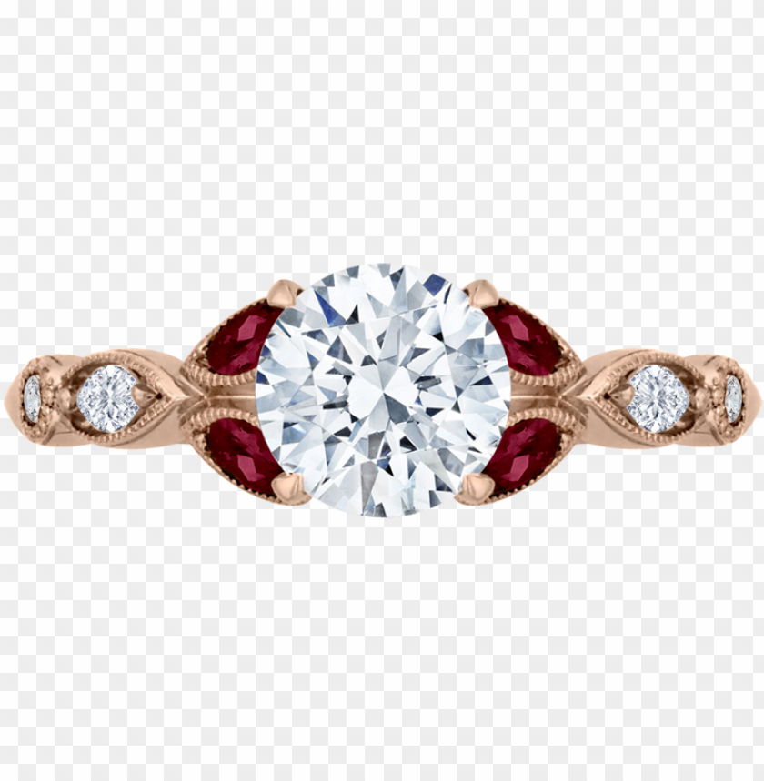 free PNG round diamond and ruby engagement ring - round diamond engagement ring with ruby PNG image with transparent background PNG images transparent