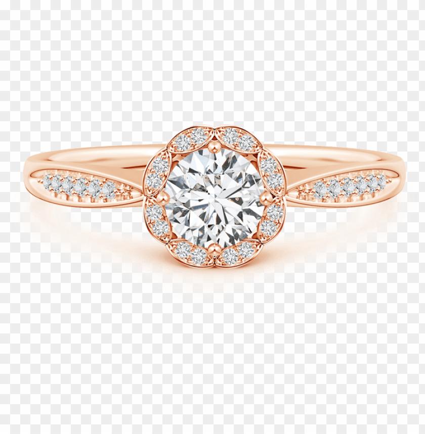 free PNG round lab grown diamond scalloped halo ring with leaf-accents - round lab grown diamond scalloped halo ri PNG image with transparent background PNG images transparent