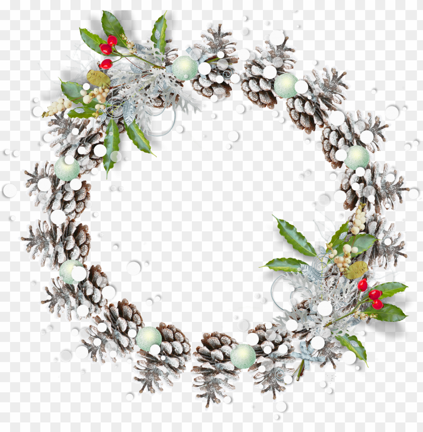 free PNG round snowy pine cone transparent png christmas photo - round christmas frame PNG image with transparent background PNG images transparent