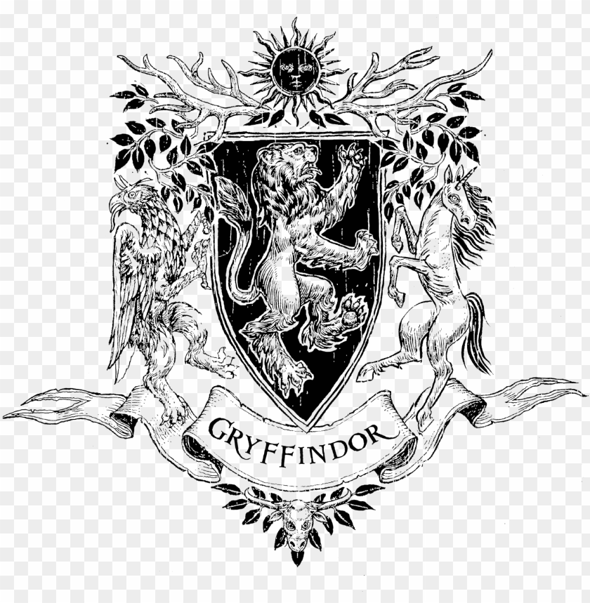free PNG ryffindor crest png - black and white gryffindor symbol transparent PNG image with transparent background PNG images transparent