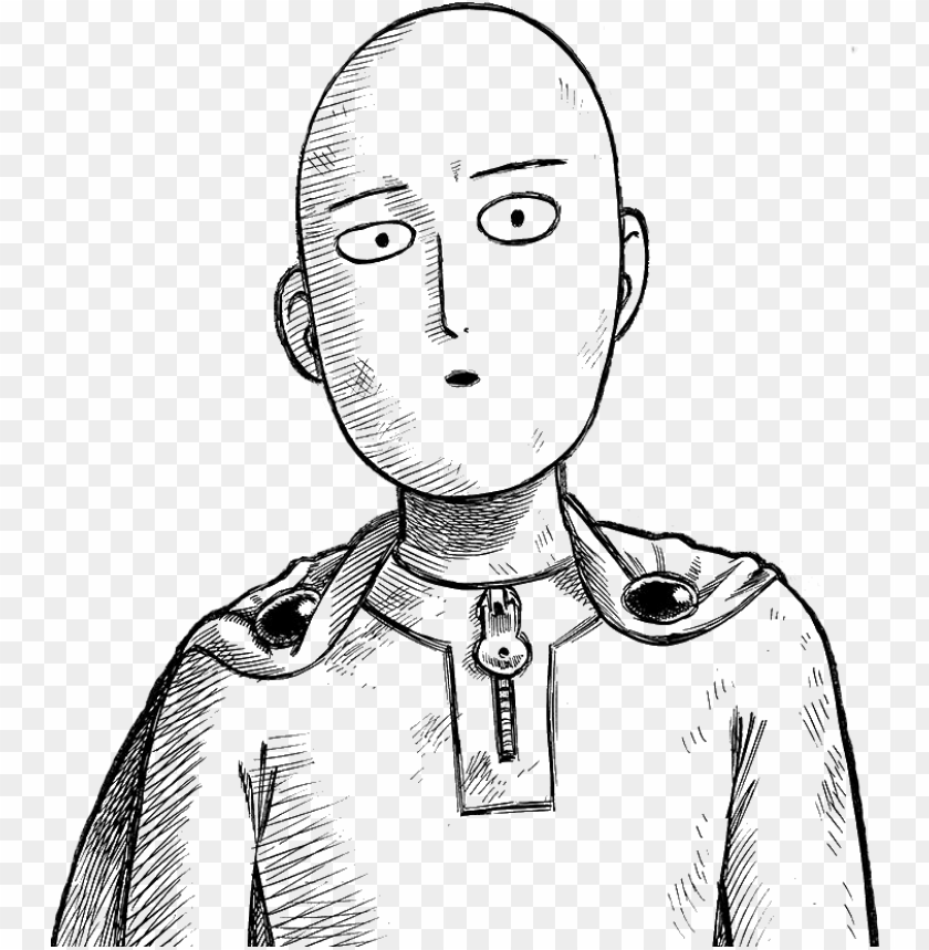 Saitama Serious Face Transparent One Punch Man Drawing Easy Png Image With Transparent Background Toppng