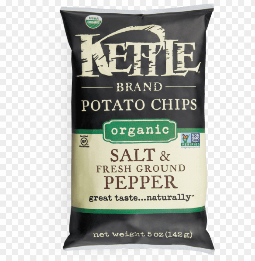 free PNG salt & fresh ground pepper organic potato chips - kettle organic potato chips PNG image with transparent background PNG images transparent