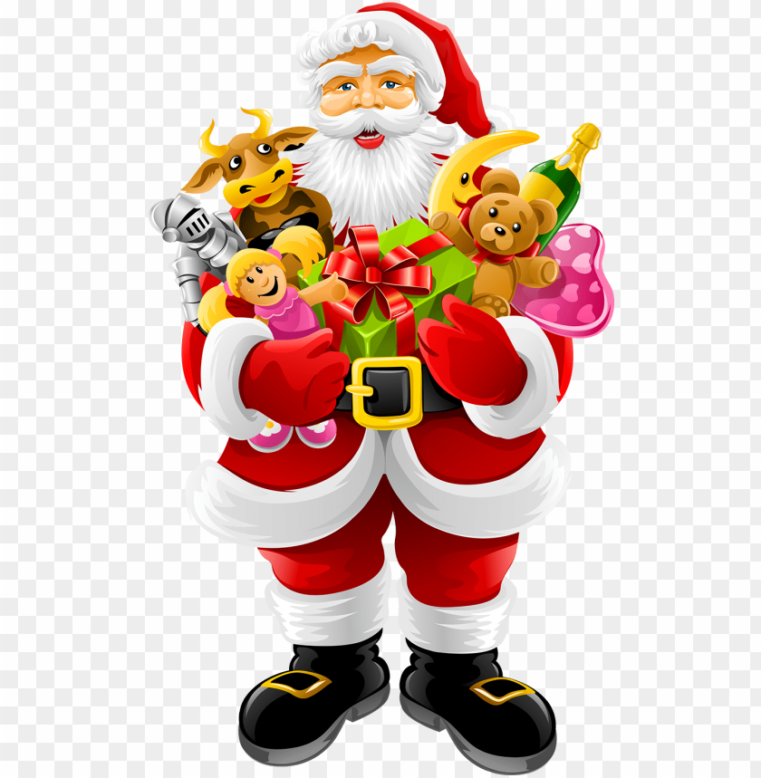 free PNG santa claus holding gifts png image - merry christmas card ideas santa claus PNG image with transparent background PNG images transparent