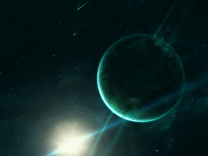 free PNG saturn, planet, space, light, green background PNG images transparent