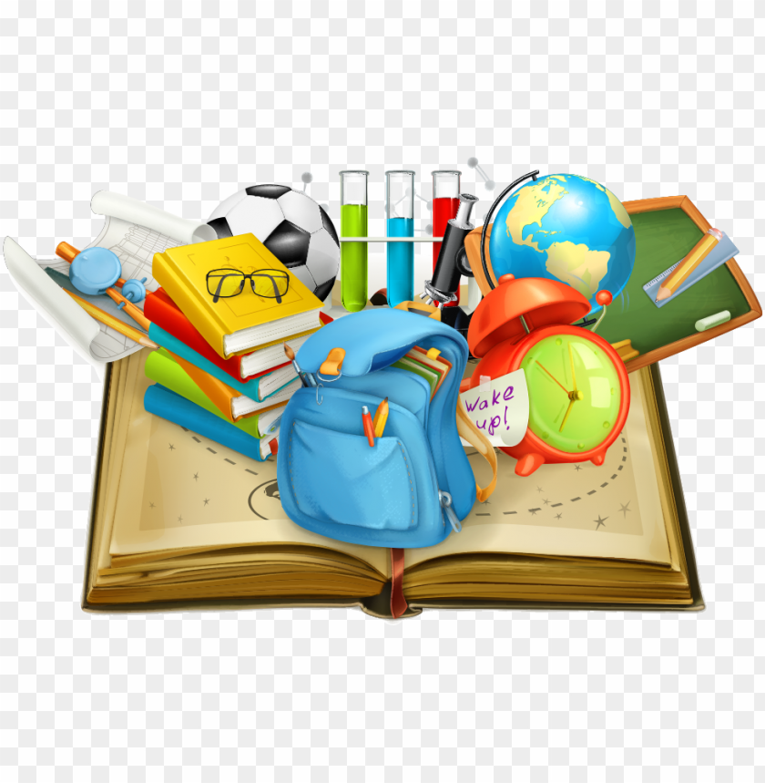 school vector books student in supplies education clipart ...