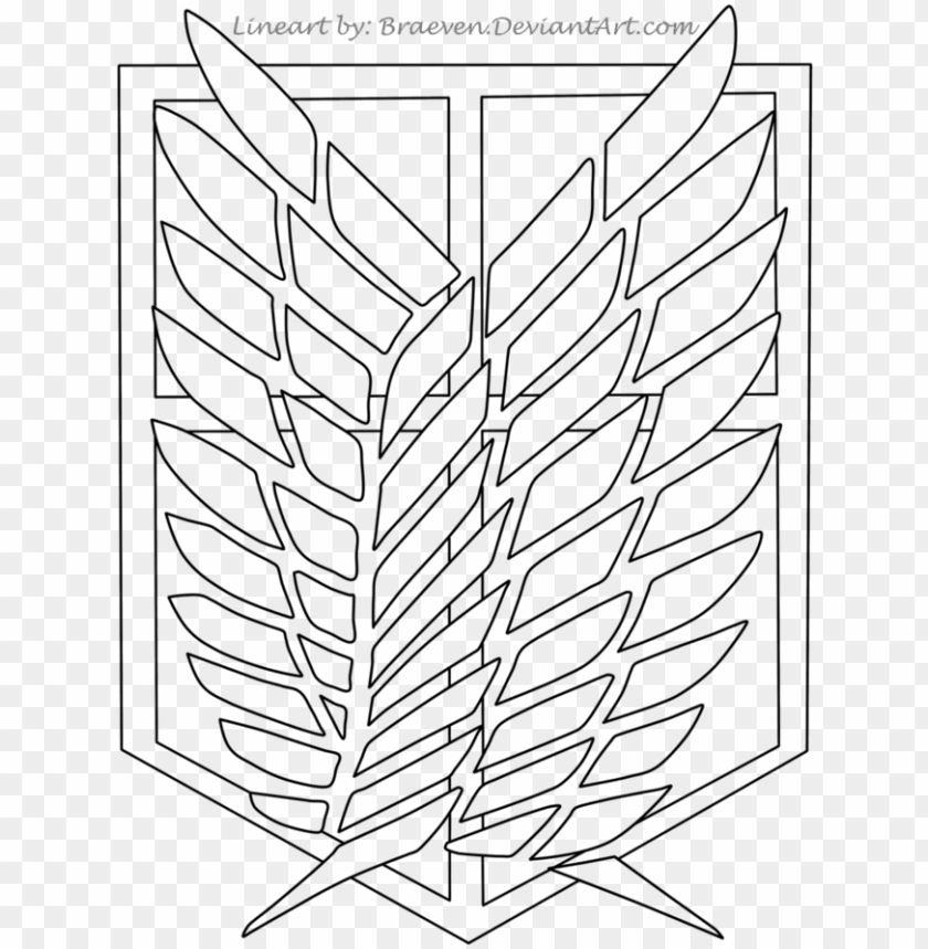Scouting Legion Patch Lineart By Braeven Attack On Titan Logo Drawi Png Image With Transparent Background Toppng