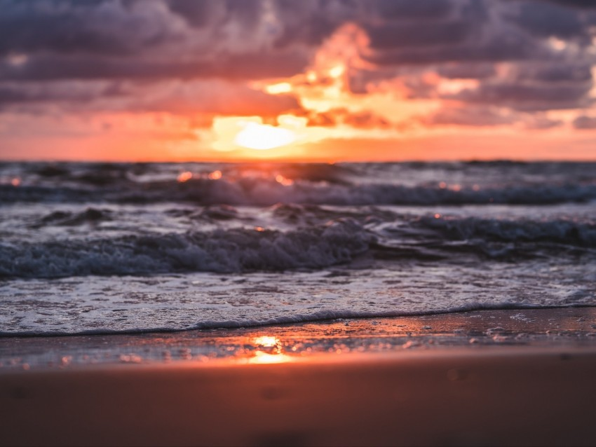 Sea Beach Sunset Waves Clouds Background Toppng
