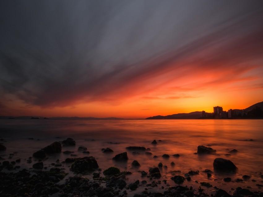 free PNG sea, sunset, stones, horizon, sky, coast background PNG images transparent