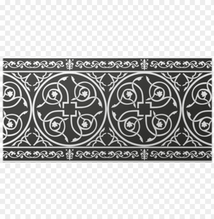 free PNG seamless gothic floral vector border with fleur de - medieval floral border black and white PNG image with transparent background PNG images transparent