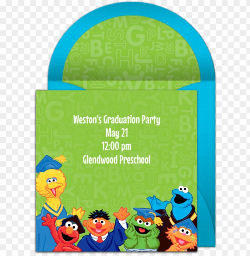 free PNG sesame street graduation online invitation - sesame street graduatio PNG image with transparent background PNG images transparent