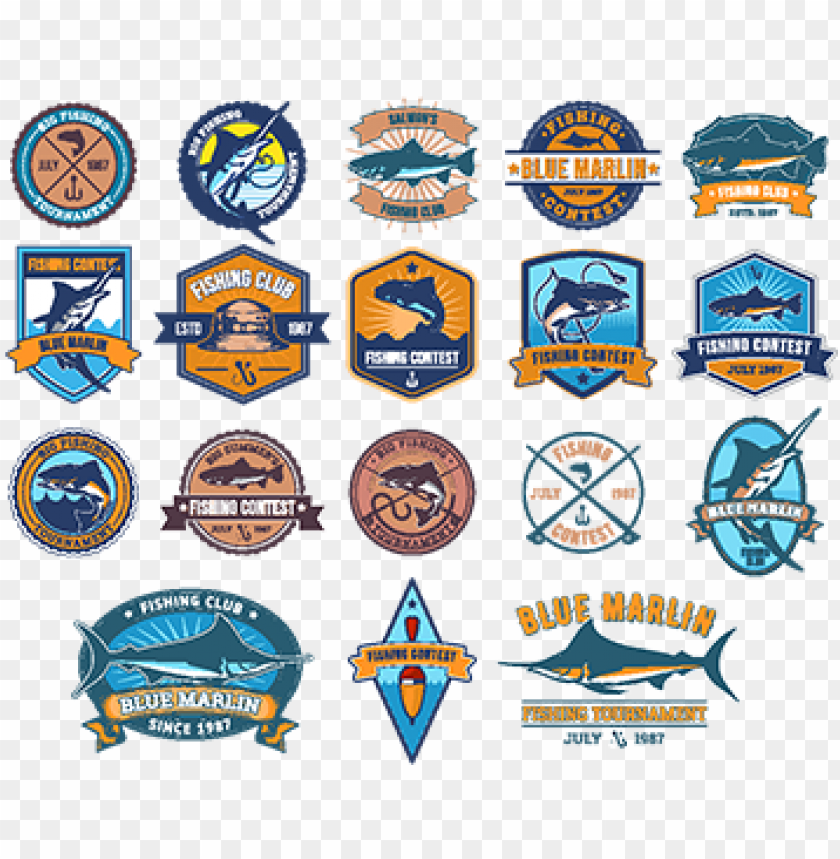 free PNG set of vector badges, stickers on catching fish - 魚 エンブレム PNG image with transparent background PNG images transparent