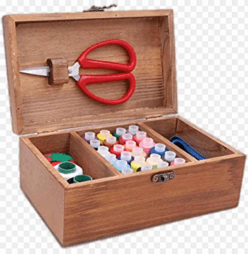 free PNG sewing kit in wooden box PNG image with transparent background PNG images transparent