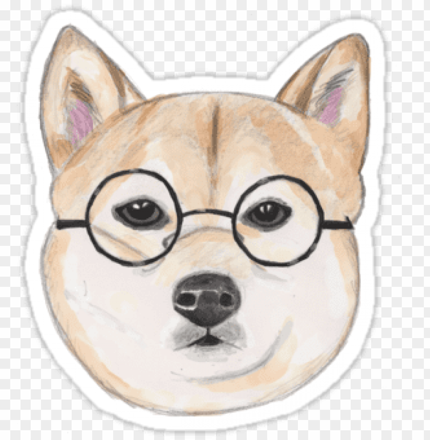 free PNG shiba inu with oversized round glasses sticker by namibear - shiba inu glasses dog cute shiba inu puppy patter PNG image with transparent background PNG images transparent